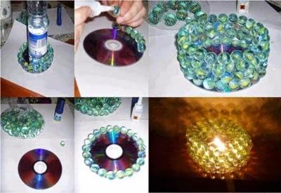 Tempat lilin dari CD/DVD bekas