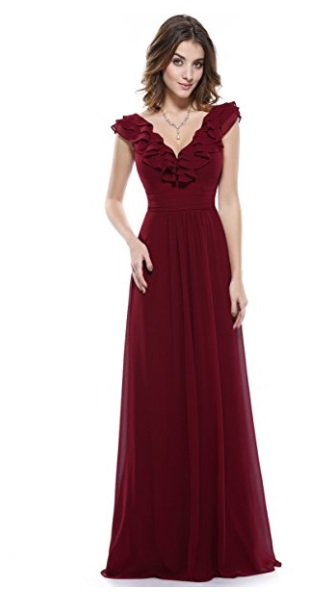 Ever-Pretty Chiffon Long Formal Floor Length dress - burgundy prom dress 2018