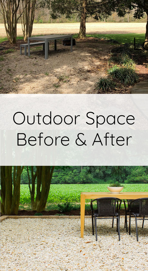Gravel patio makeover before and after