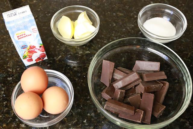 Ingredientes para mousse de chocolate