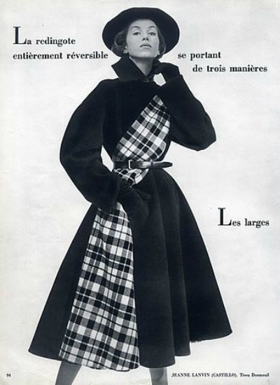 Model in winter coat designed by Castillo for Jeanne Lanvin 1951. Photo by Philippe Pottier