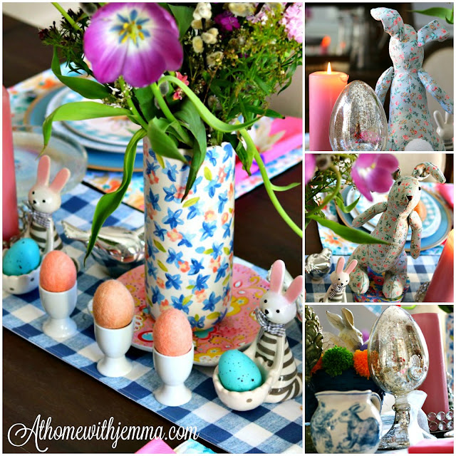Easter, blue, white, cottage, lunch, decorating, decor, athomewithjemma.com