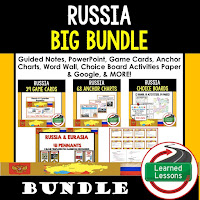 World Geography Russia Bundle, Anchor Charts, Games, Guided Notes, Digital Choice Boards, Google Classroom, Word Walls