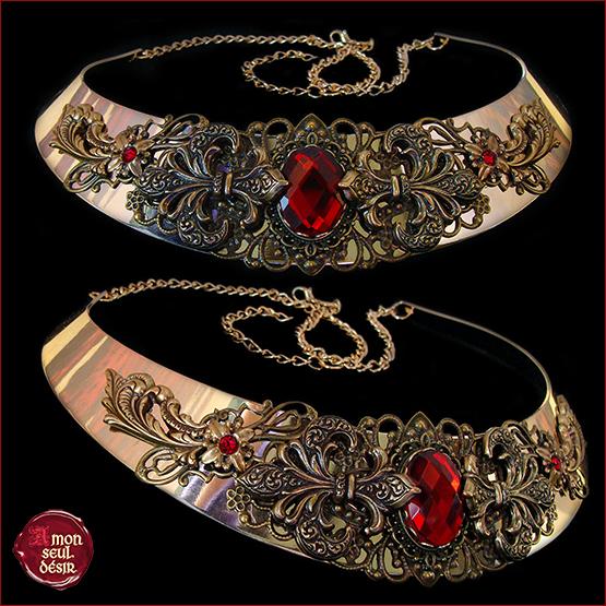 collier royal fleur de lis medieval renaissance reine bronze