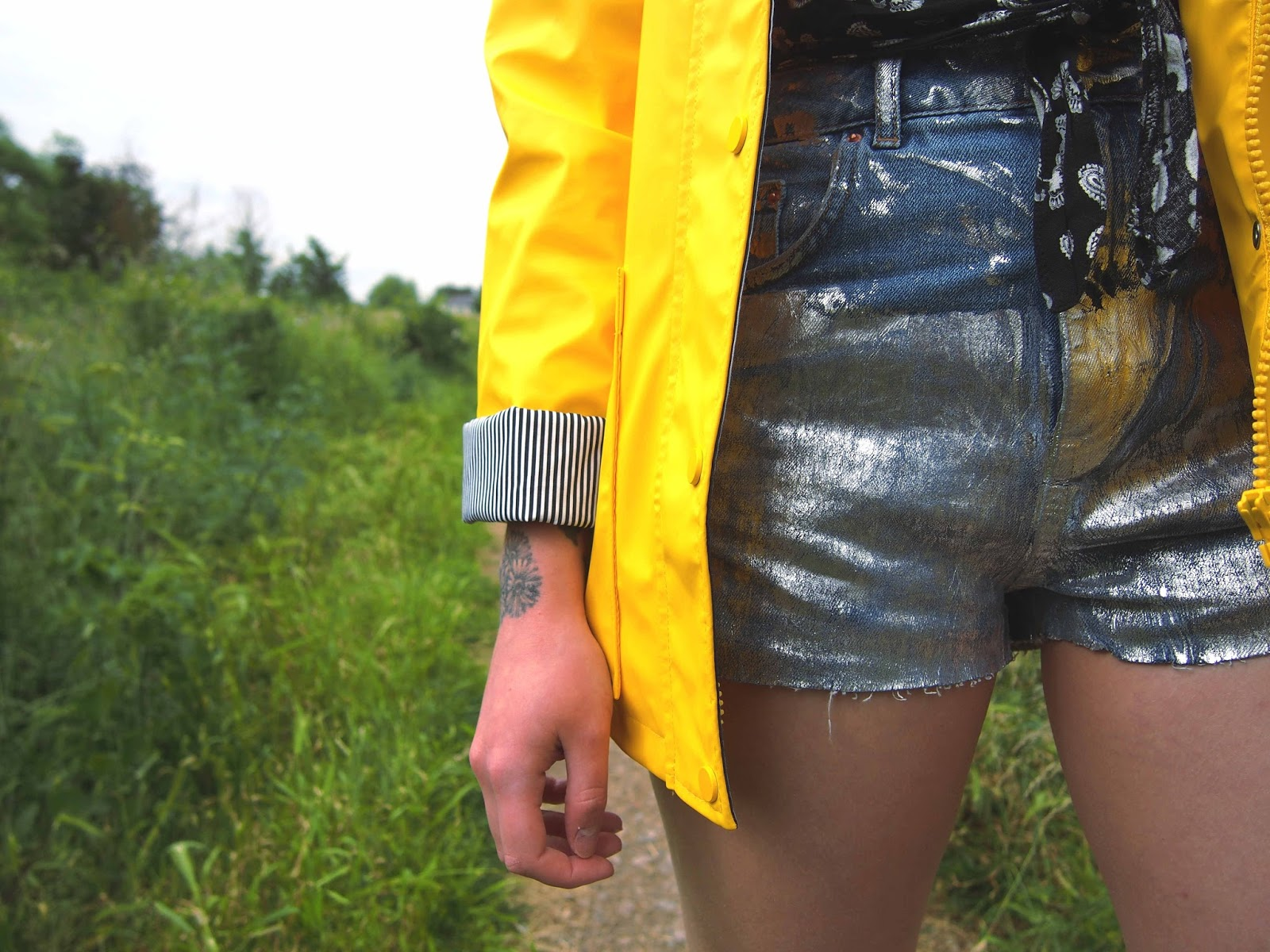 yellow raincoat, how to style a raincoat, festival fashion, festival style outfit, converse all white chuck 2, silver high waisted denim shorts, gold hoop earrings, wide choker 1