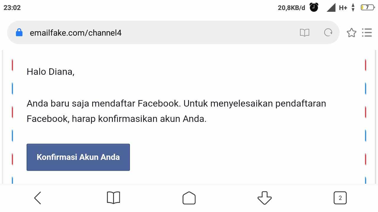 Tidak bisa membuat akun Facebook