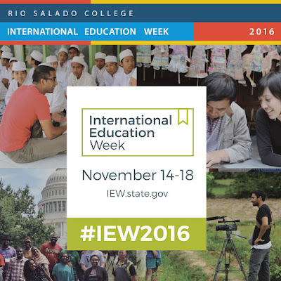 banner for International Ed Week.  Montage of images of people in various activiites.  Text: Rio Salado College International Ed Week Nov. 14-18.  IEW.state.gov #IEW2016