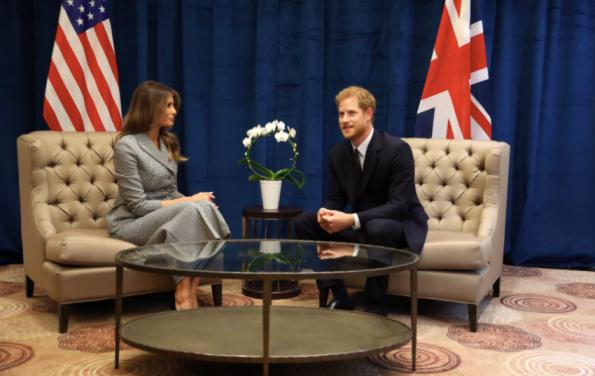 Prince Harry holds uneasy bilateral talks with American First Lady Melania Trump