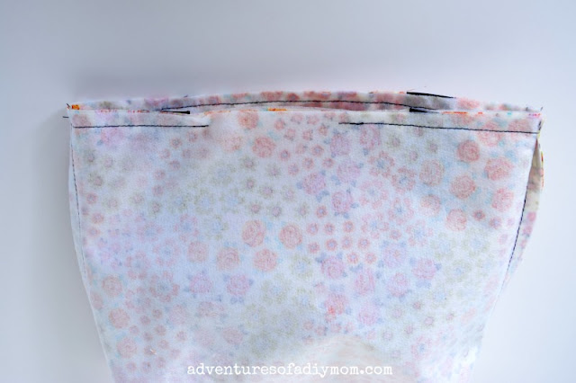sew along top of bag, leaving opening for turning