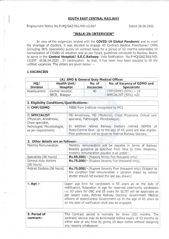 Jobs in South East Central Railway 40 Vacancies Specialist & GDMO (Walk-in) 27-09-2020_page-0001