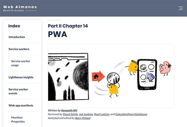Screenshot of the PWA chapter in the 2020 Web Almanac