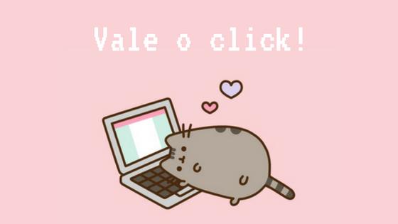 Texto: Vale o Click! com imagem de um gato usando o computador