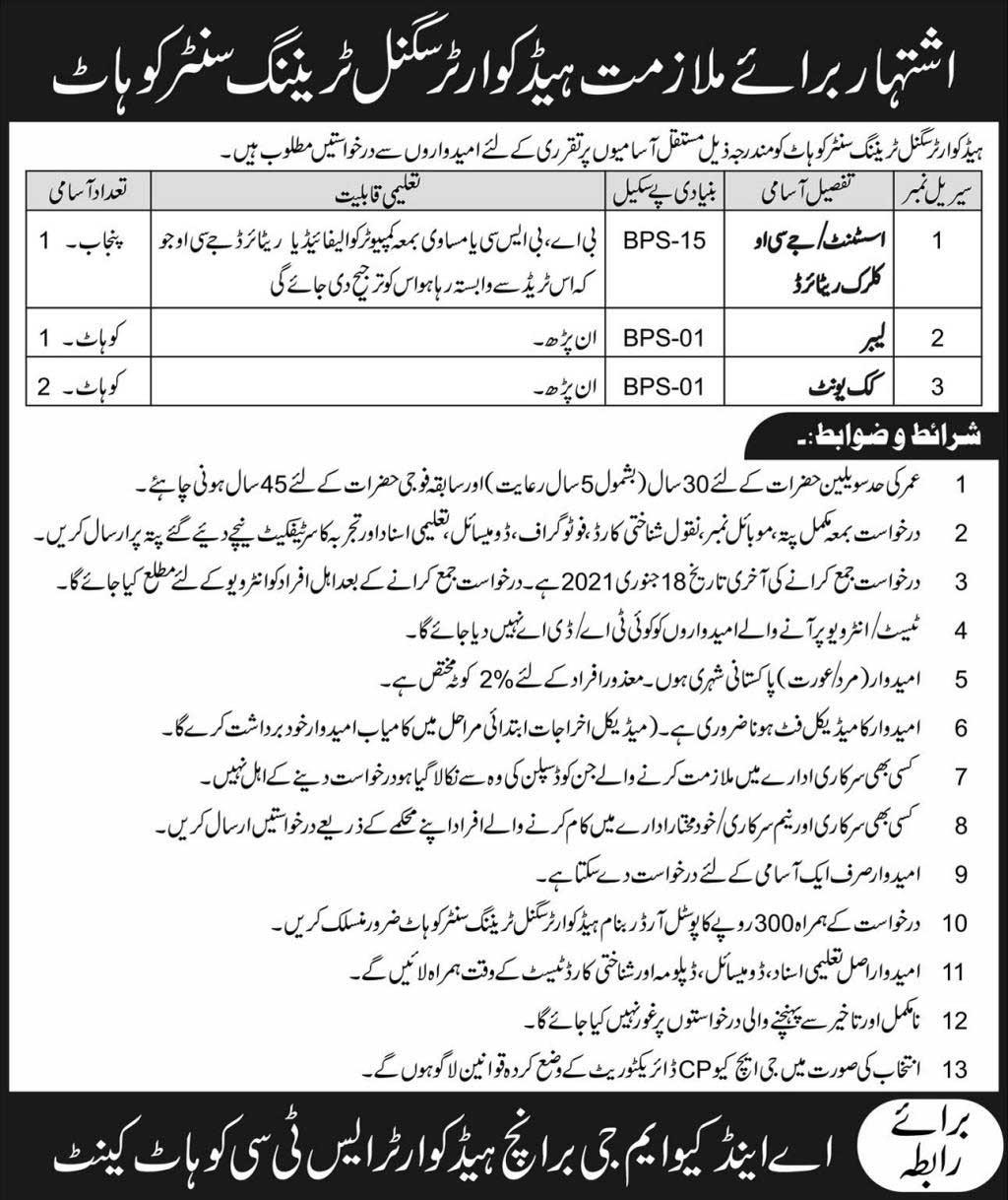 Pak Army Headquarters Signal Training Center Jobs 2021