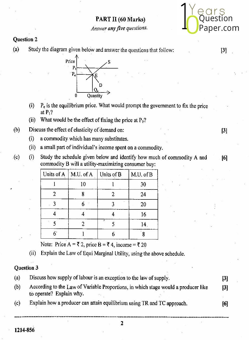 isc 2014 class 12th Economic question paper