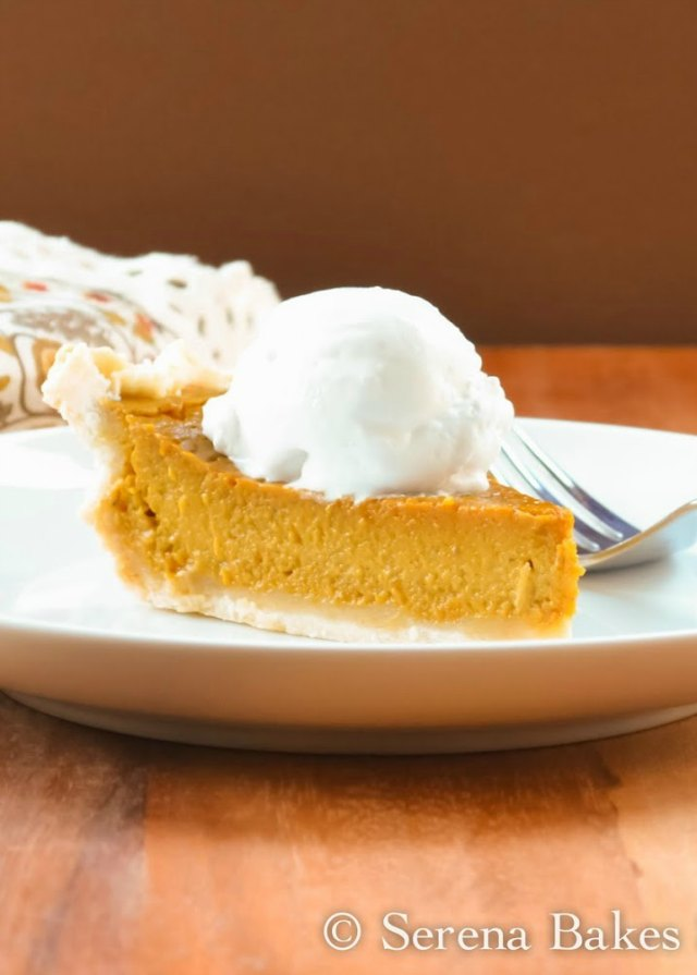 Gluten Free Dairy Free Pumpkin Pie with Coconut Whip Cream is soooo good! It's a must make for the Thanksgiving dessert table from Serena Bakes Simply From Scratch.