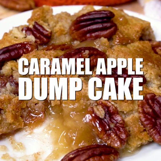 A simple recipe for Caramel Apple Dump cake made with butter pecan cake mix and apple pie filling!