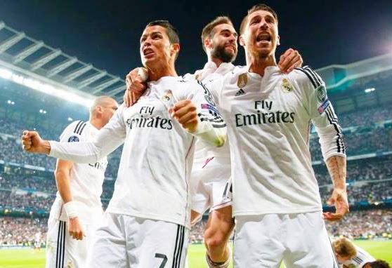 Bermain dengan sepuluh pemain nampak atletico keteteran mengahadapi serangan dari Madrid yang ditukangi trisula Ronaldo, Rodrigues dan Chicarito. Unggul Jumlah pemain terus mengobrak abrik pertahanan Atltetico. Hasilnya, menjelang babak kedua akan usai tepatnya pada menit 88' Chicarito menjadi pahlawan bagi timnya untuk tidak menyia-yiakan umpan dari Ronaldo. Hasilnya Madrid Unggul 1-0.Hingga 90 menit berakhir skor tidak berubah. Dengan hasilini Real Madrid berhak Lolos ke Babak Semifinal Liga Champion 2015 unggul agregat 1-0.