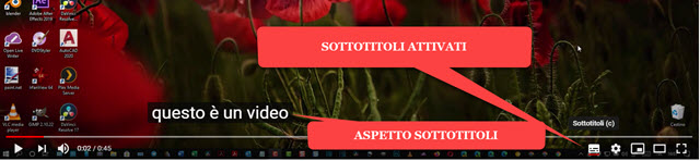 attivazione dei sottotitoli generati automaticamente da youtube