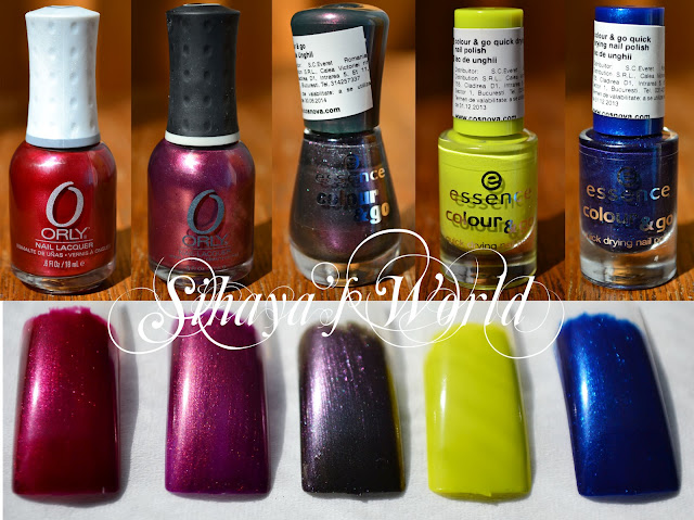Orly Moonlit madness Orly Close your eyes essence 122 chic reloaded essence 39 lime up essence 76  hard to resist