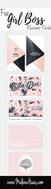 Free Floral Girl Boss Business Card - Printable Pin, Blush, White, Black and Navy