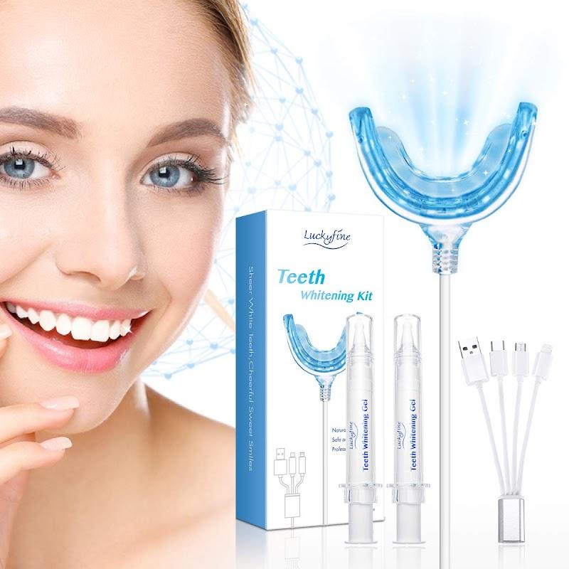 50.02% OFF Teeth Whitening, Luckyfine Teeth Whitening Kit 16 LED Accelerator Lights, including 30ml Gel, Home Teeth Whitener System
