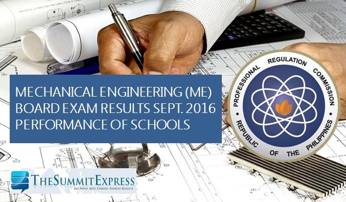 September 2016 Mechanical Engineer (ME), CPM board exam results