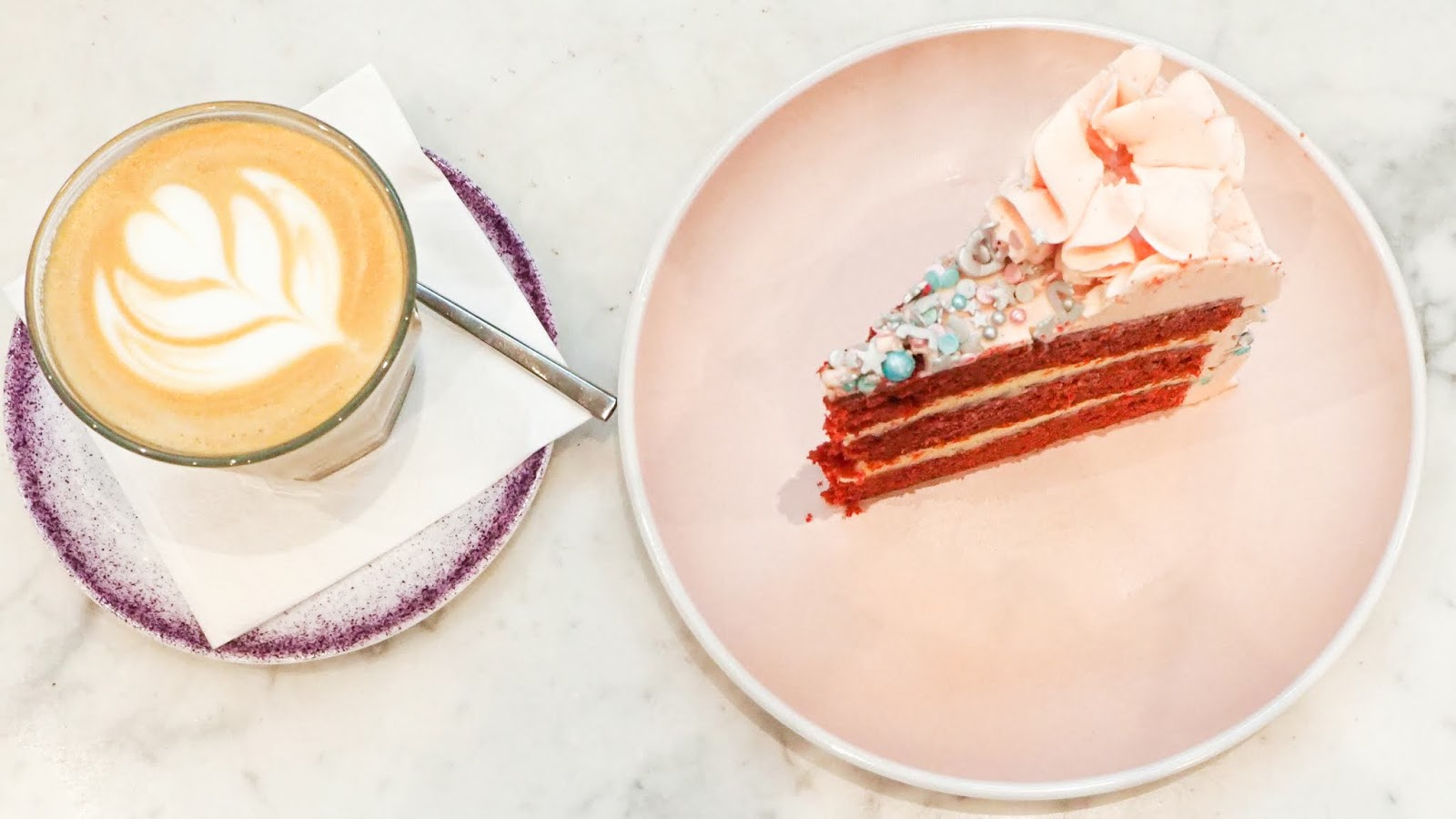 Red velvet cake and a skinny latte at EL&N Cafe