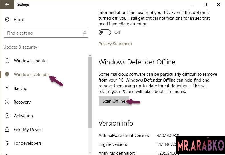 كيفية ازالة الفيروسات من الكمبيوتر ويندوز 10