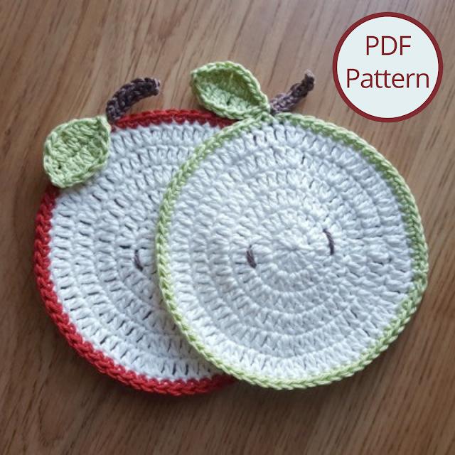 Apple slice crochet coasters