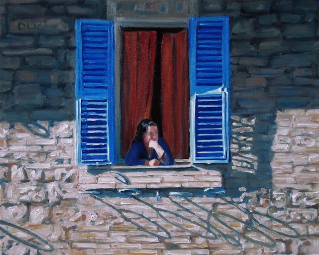 oil painting of a pensive woman looking out window, elbows outside. blue sutters open, red orange curtain behind her, brick wall with shadow shapes