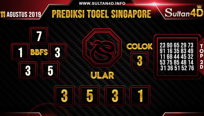 PREDIKSI TOGEL SINGAPORE SULTAN4D 11 AGUSTUS 2019