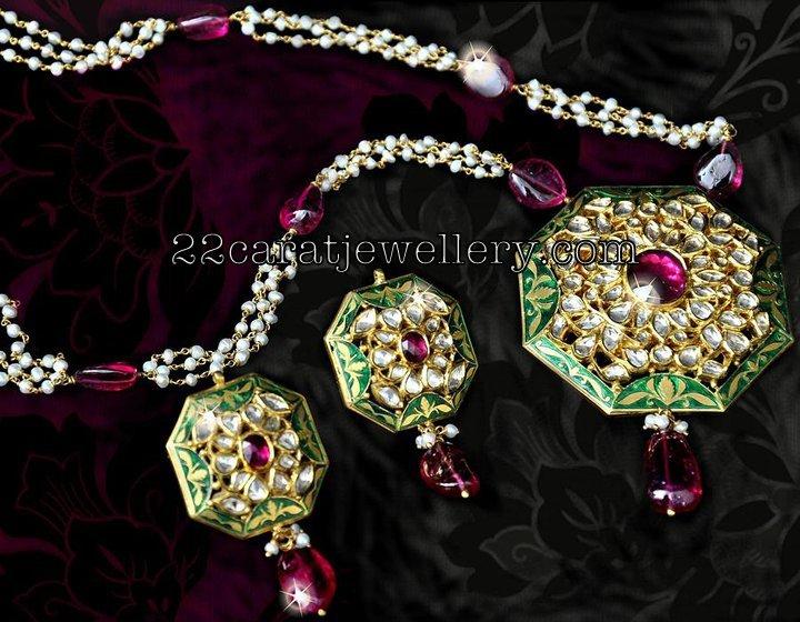 Akoya pearls set with kundan meena pendant jewellery designs checkout small akoya pearls long chain attached with kundan meena pendant studded with polki diamonds and rubys attached with ruby drops paired with aloadofball Choice Image