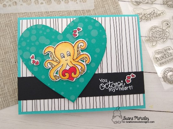 You octopi my heart by Diane showcases Tides of Love and Bubbly by Newton's Nook Designs; #newtonsnook, #inkypaws, #cardmaking, #valentinescard