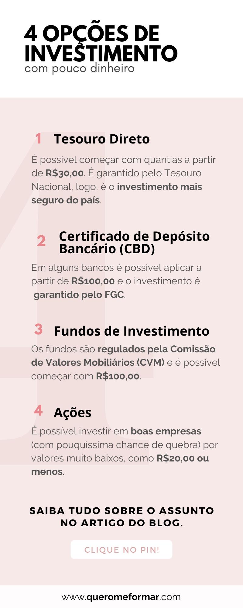 Infográfico 4 Opções de Investimento para Quem Tem Pouco Dinheiro
