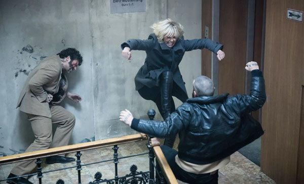 The brutal stairwell fight sequence in ATOMIC BLONDE (2017)