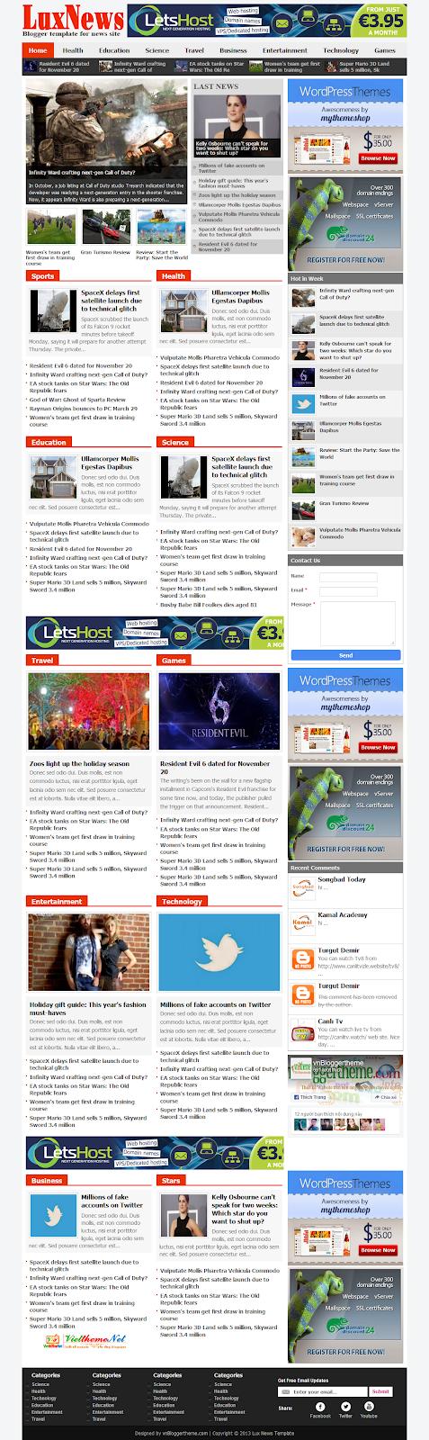 Luxnews - Theme tin tức báo chí nhiều chuyên mục Blogspot