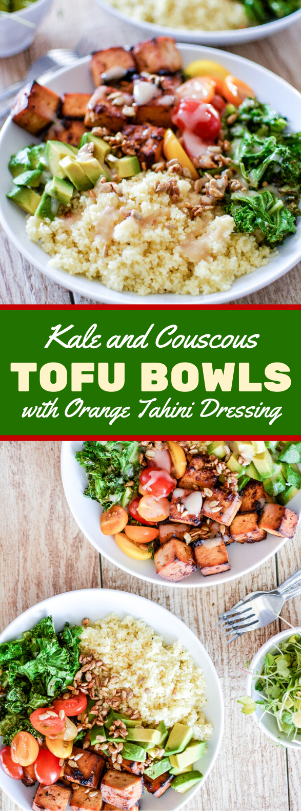 Kale and Couscous Tofu Bowls with Orange Tahini Dressing #vegetarian #weeknightdinner