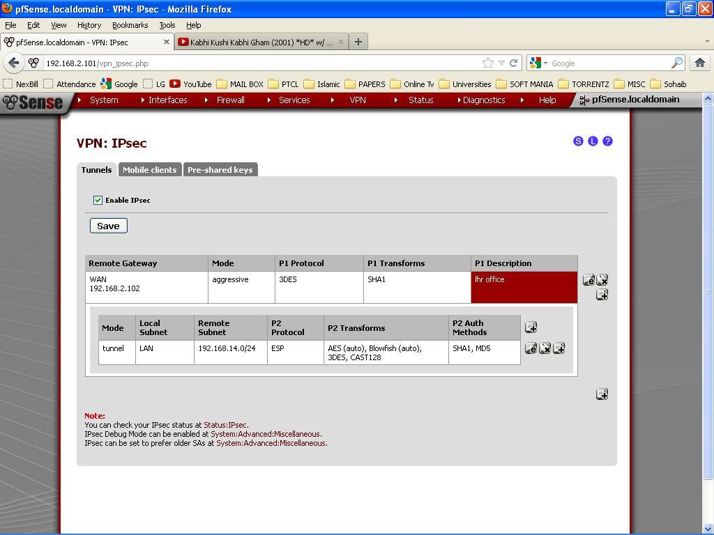 Mega IT Support: point to point vpn through pfsense ( IPsec )