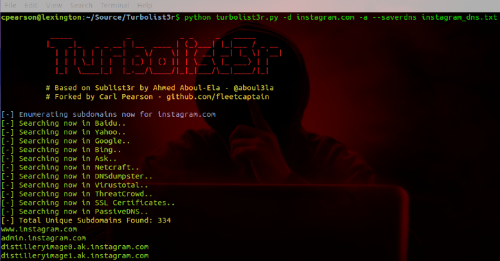 Turbolist3r : Subdomain Enumeration Tool With Analysis Features For Discovered Domains