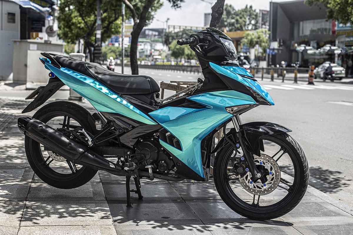 Sơn xe máy Exciter 150 màu xanh kim tuyến cực đẹp - SƠN XE MÁY ĐẸP