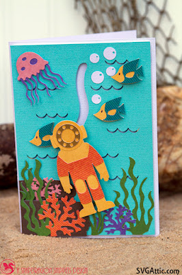 Deep sea diver slider card