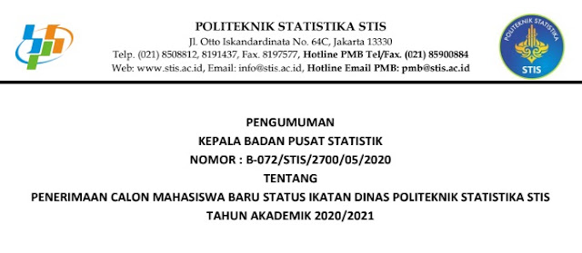 persyaratan pendaftaran penerimaan mahasiswa baru stis tahun 2020 tomatalikuang.com