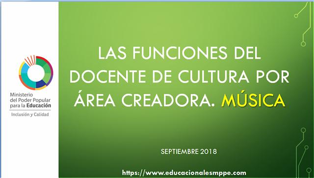 LAS FUNCIONES DEL DOCENTE DE CULTURA POR ÁREA CREADORA. MÚSICA