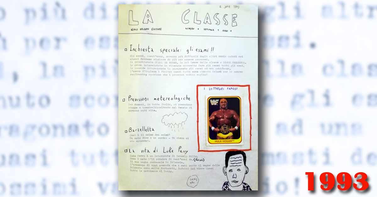 Il primo numero del giornalino scolastico ''La Classe'' nel 1993