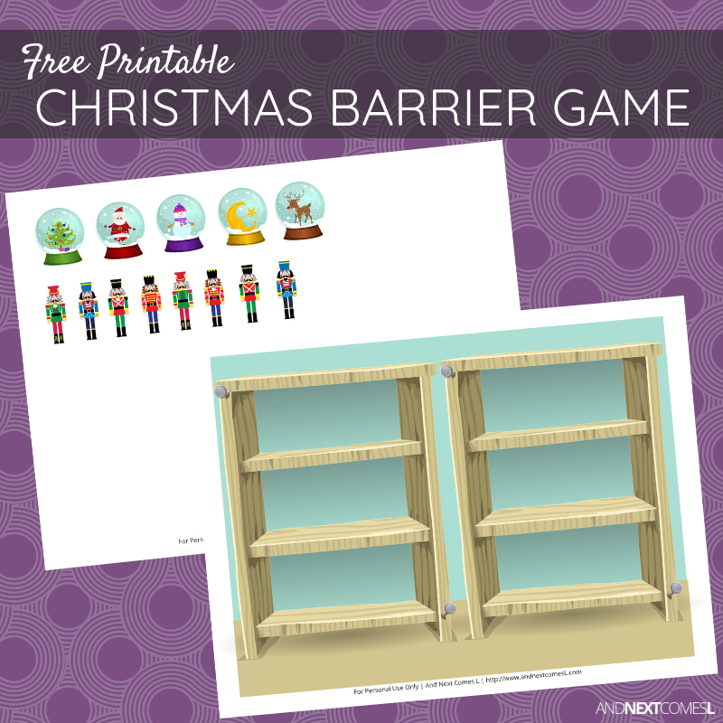 Free Printable Christmas Barrier Game For Speech Therapy