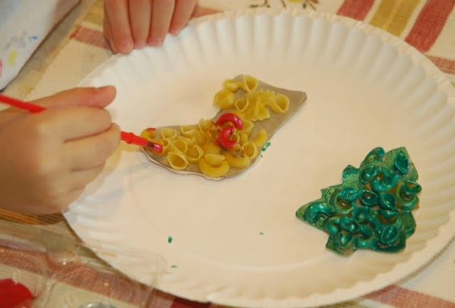 Dried Pasta Ornaments- EASY Christmas craft for kids