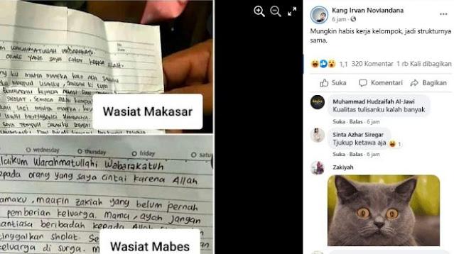 Wasiat Teroris Makassar - Mabes Polri Sama, Publik: Mungkin Kerja Kelompok