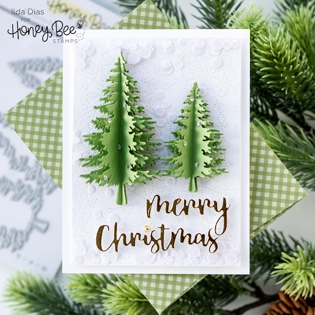 3D, Christmas Tree, Flat Shaker, Card, Frameless Shaker, Honey Bee Stamps, Christmas Card, Card Making, Stamping, Die Cutting, handmade card, ilovedoingallthingscrafty, Stamps, how to, Pine trees,CAS,