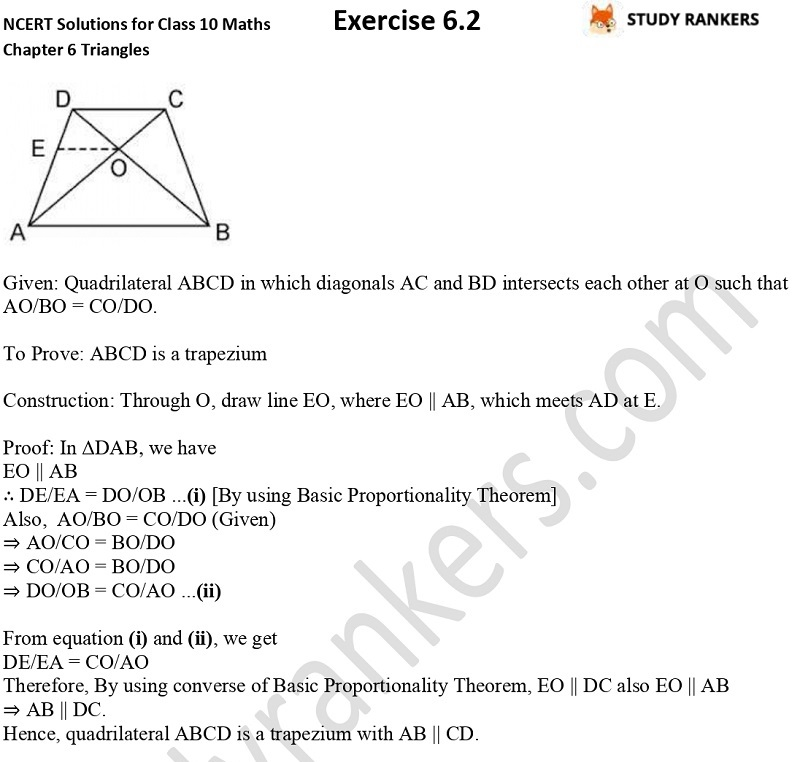 NCERT Solutions for Class 10 Maths Chapter 6 Triangles Exercise 6.2 Part 7