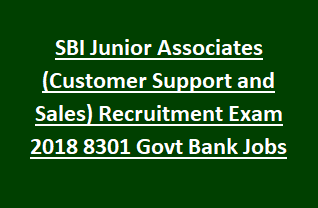State Bank of India Junior Associates (Customer Support and Sales) Recruitment Exam Notification 2018 8301 Govt Bank Jobs